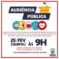 Cancelada a Audiência Pública nº 1/21