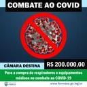 Câmara destina 200 mil reais no combate à Covid-19